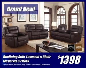 Reclining Sofa, Loveseat & Chair-Lots of Features!