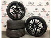 "GENUINE MERCEDES C/E CLASS 18"" ALLOY WHEELS & TYRES - 5 x 112 - GLOSS BLACK"