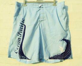 "Ocean Pacific XL Men's or Ladies Light Blue Swimming / Beach Board Shorts W41-47"""