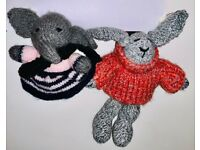 2 Knitted soft toys - Elephant & Bunny - UNIQUE teddy/bear