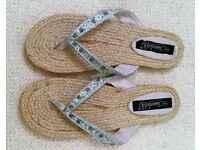 New Blue Satin Beaded/Embroidery & Hessian Flip Flops.Size 8. Beach Wear/Holiday: Shoes/Accessories