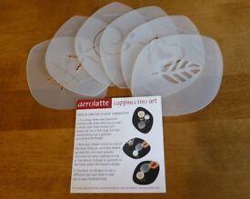 SIX AEROLATTE CAPPUCCINO COFFEE STENCILS - BRAND NEW IN A TIN