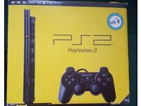 SONY PLAY STATION 2 Slimline Console (Black) (PS2) with 6 GAMES & DRIVING FORCE