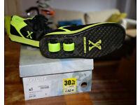 Size 1 Wheelie shoes trainers, Black & Yellow, Hardly used. Boxed. Euro 34