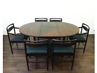 Mid Century Rosewood McIntosh Dining Table and 6 Chairs Leather Retro Vintage Not Teak