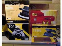 Assorted power tools. New or used once. All exc condition and boxed. Prices in description.