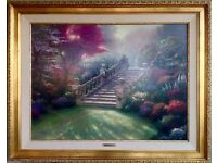 """Thomas Kinkade Painting, Stairway to Paradise, SP Canvas, S/N 9/160, 30""""x40"""", Antique Gold Frame"""