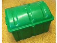 Pirate Chest. Childrens Plastic toy storage box. Green with shaped lid. Collection only