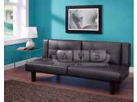 **CINEMA SOFA BED** Brand New 3 Seater Leather Sleeper with Cup Holder, Click Clack Small Double Bed