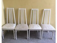 X4 crushed velvet white/beige dining chairs