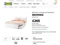 White double bed with head-board and storage from IKEA