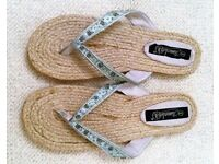 NEW TIMELESS Blue Satin Beaded Embroidery Hessian Flip Flops: Size 8 Beach Wear Holiday Accessories