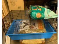 Hamster / Gerbil / Rat / Mouse cage with accessories, food & tubes