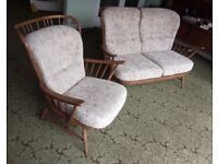Vintage 1980s Ercol Windsor sofa and armchair