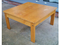 coffee table, solid wood. 61cm x 61cm square. in good condition. some marks on top.