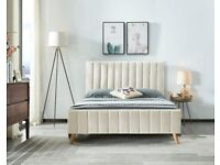 🔴DISCOUNT SALE PRICE🔵-Stylish Plush Velvet Lucy Bed Frame in Cream and Beige Color Options