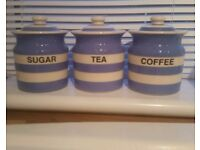 Cornishware tea coffee sugar pots