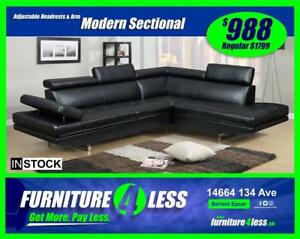 Special Buy! Modern Sectional Available in Black or White ONLY $988