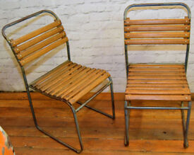 14 available vintage stacking chairs antique industrial restaurant garden tubular metal kitchen