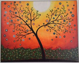 Dusky Radiance - Gold Leaf flower dots in grass *Original Handmade Painting* Direct from Artist