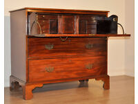 Attractive Large Antique Victorian Mahogany Secretaire Chest Of Three Drawers