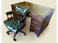 Antique Style Leather Top Pedestal Writing Office Desk (Key) & Captains Chair