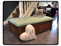 Vintage Oak Upholstered Otterman/Window Seat/Blanket Box