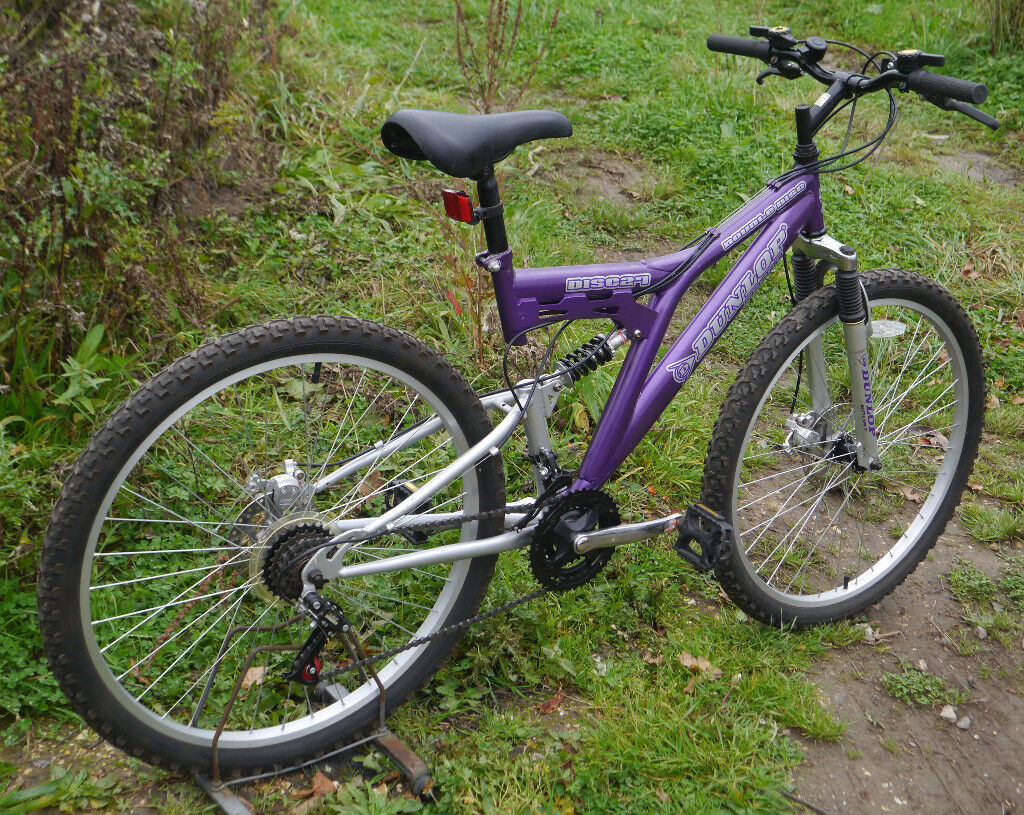 "Dunlop full sus disc mountain bike, 18"" medium frame, 18 gears, 26"" wheels, discount available"