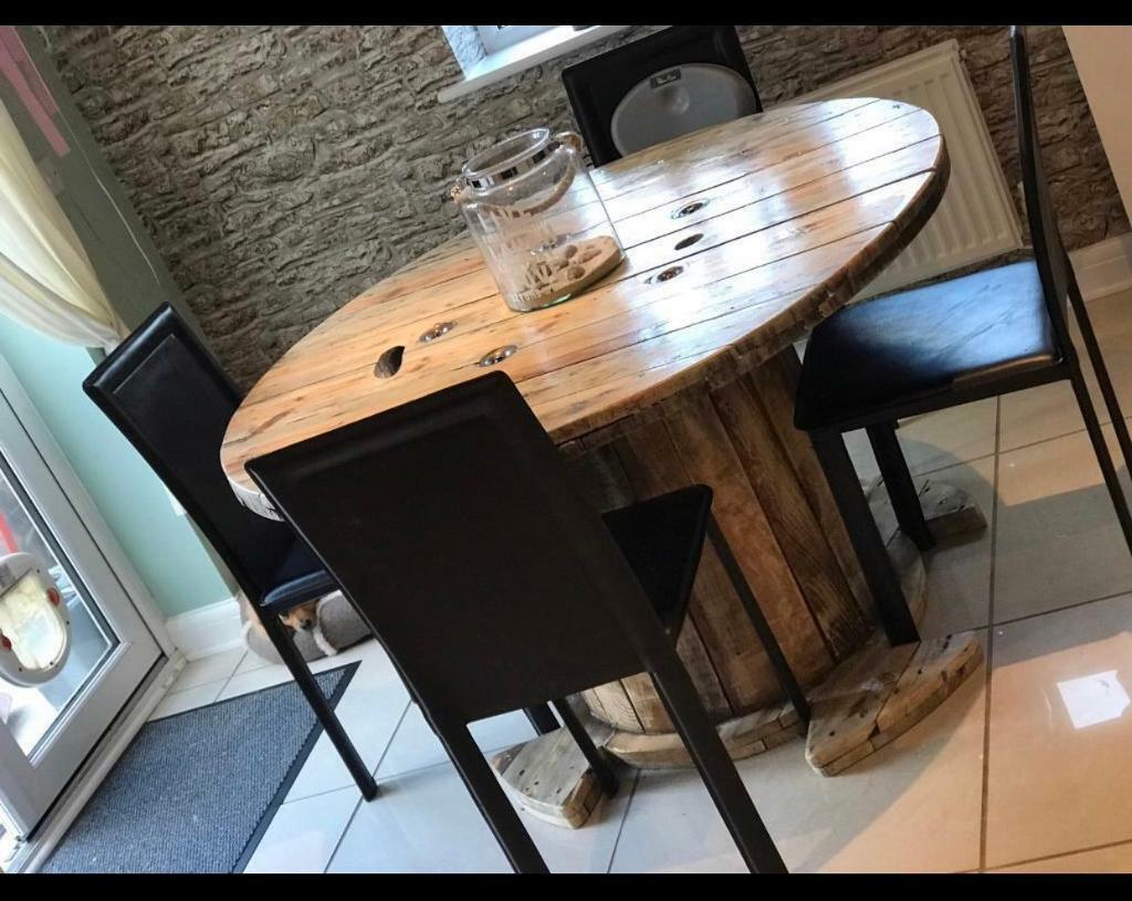 Rustic Round Wooden Drum Table