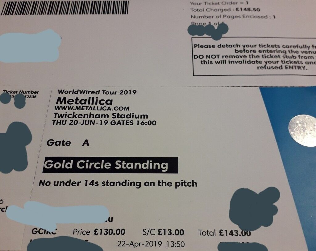 Gold Circle Metllica 20 June Twickenham stadium ticket sale | in Wimbledon,  London | Gumtree