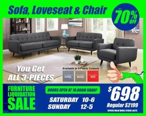 BRAND NEW 3-PIECE SOFA, LOVESEAT AND CHAIR SET. LIQUIDATION ONLY $698 CLICK IMAGE 4 MORE DEALS!