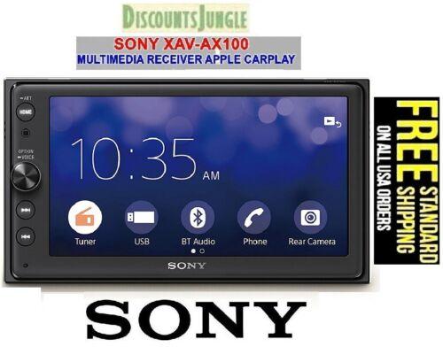 "Sony XAV-AX100 6.4"" Media Receiver w/Bluetooth USB Playback Apple Car Play"