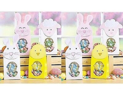 8 EASTER Holiday TREAT GIFT BAGS w/ Window BUNNY CHICK LAMB Pink White Yellow ](Easter Gift Bags)