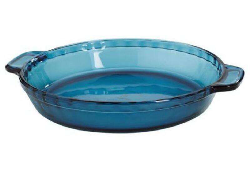 "*NEW Anchor Hocking RIO COASTAL BLUE 9.5"" PIE PLATE Deep Dish Quiche Crimped Rim"