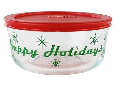 PYREX 4 CUP Storage Bowl HAPPY HOLIDAYS 1-Qt Christmas RED Cover GREEN Snowflake