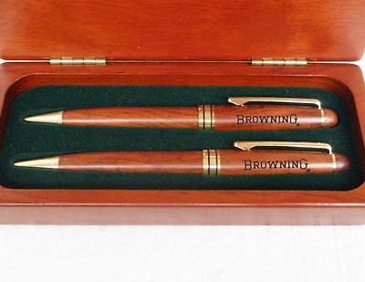 - Browning PEN & PENCIL SET Rosewood Case w/Signature BUCKMARK Logo *Smooth Write*