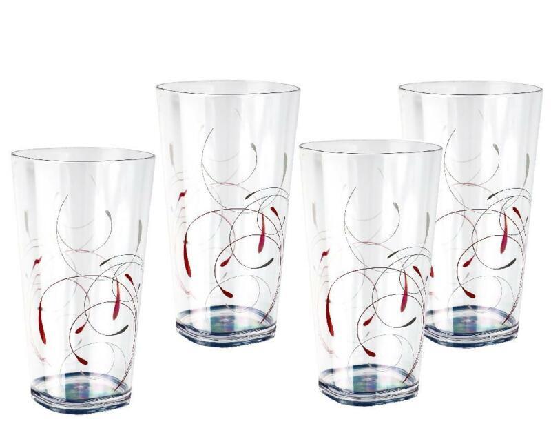 4 Corelle SPLENDOR Acrylic DRINKWARE Beverage Glasses Red Grey 19-oz TUMBLERS