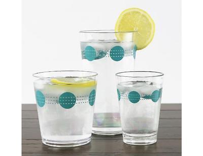 4 Corelle SOUTH BEACH Acrylic DRINKWARE Beverage Glasses AQUA DOTS 19 14 or 8-oz