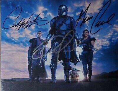 Pedro Pascal * Gina Carano * Carl Weathers X3 Signed 8x10 Photo COA Mandalorian