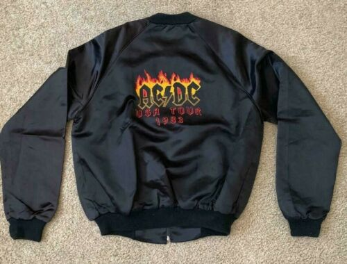 1983 AC/DC Flick Of The Switch US Black Satin Tour Jacket Size S, M & L NEW NOS