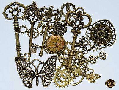 28 tlg Steampunk Bastelset Mix Zahnräder Schlüssel Gothic Bronze Viktorianisch