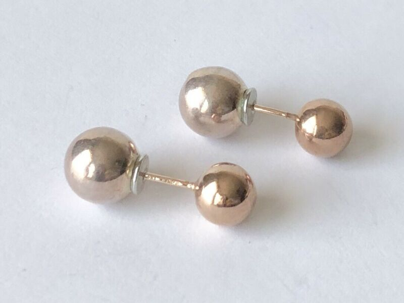 Estate Gold Plated Sterling Silver 925 Round Bead Front-Back Stud Earrings Italy