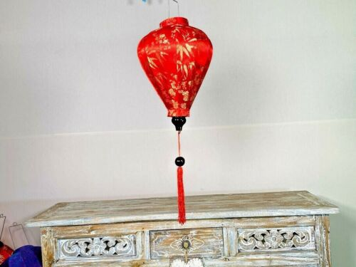 RED HANGING LANTERN, Traditional Luminescent Silk Lanterns,Asian Garden Lantern