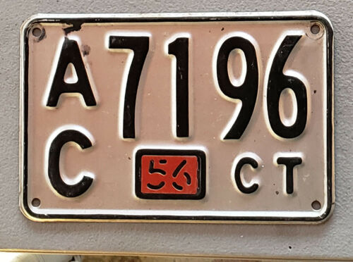 1956 CONNECTICUT License Plate Tag  56 CT CONN TAG  A/C 7196