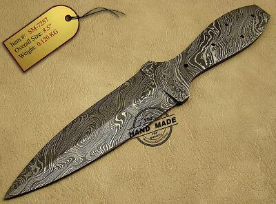 Handmade Damascus Steel Hunting Damascus Dagger Skinner Knife Blank Blade 1447