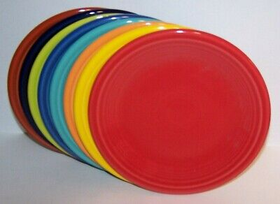 NEW SET LOT OF 8 FIESTAWARE MIXED COLORS SALAD PLATES FIESTA RETIRED