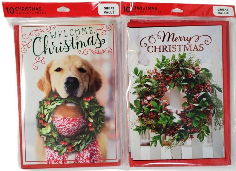 Set Of 2 Hallmark Christmas Cards Pack Puppy with Wreath 10 Cards with Envelopes