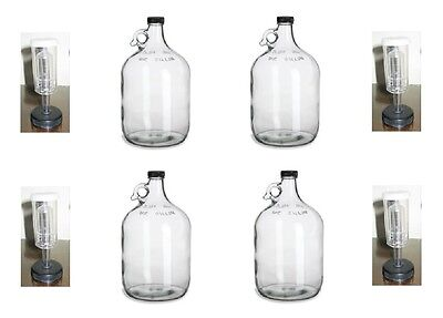 $29.95 - 4 GLASS 1 GALLON JUGS + AIRLOCKS FOR HOMEBREWING BEER WINE MAKING KITS MOONSHINE
