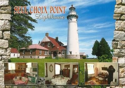 Postcard Michigan Gulliver Seul Choix Point Lighthouse Schoolcraft County MINT