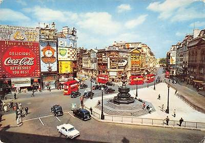 Piccadilly Cars (London Piccadilly Circus, Vintage Cars Auto Billboards Advertising Coca)